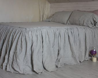 Linen Coverlet Super Soft Linen Bed Cover Bedspread With Ruffles Dust  Ruffles Bed Cover Twin Full