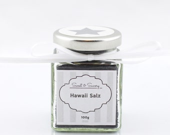 Hawaii Salt Black, 100g, gourmet salt, ideal as a gift for barbecuing, cooking, Easter, Christmas for you and him