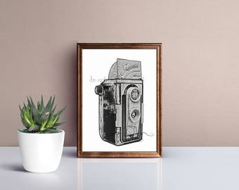 Gift for photographer, photography wall art, twin lens reflex camera, camera print, digital drawing, old camera, vintage camera, photography