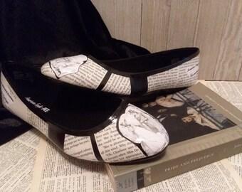 Pride and Prejudice Flats Jane Austen Wedding Flats Classic Literature Flats Literature Shoes Book Flats Book Shoes Book Wedding Flats