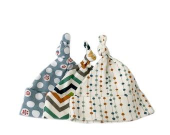 Baby gift under 25, baby knot caps, newborn baby gift, 3 organic knot hats, newborn hats, knotted hats, animal nursery gift, baby knot cap,