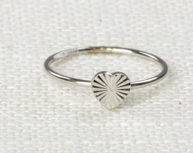 Heart Midi Vintage Ring Silver Knuckle Ring US Womens Sizes 7D