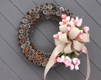 Pinecone Wreaths - Spring Wreaths - Tulip Wreaths - Easter Wreaths - Pinecone Decor - Spring Floral Wreath - Wreath for Summer - Wreath