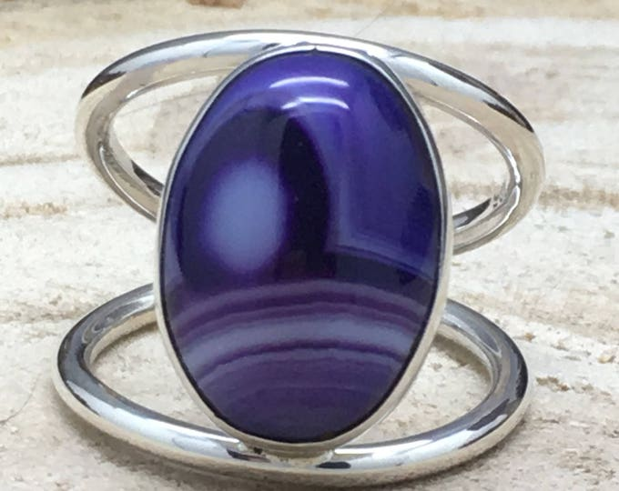 Featured listing image: Handcrafted Sterling Silver Ring with Purple Banded Agate Stone.