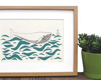 Art Print 'Gone fishing' A4 Screen printed with eco friendly inks. Featuring a whale who has encountered a sail boat out at sea.
