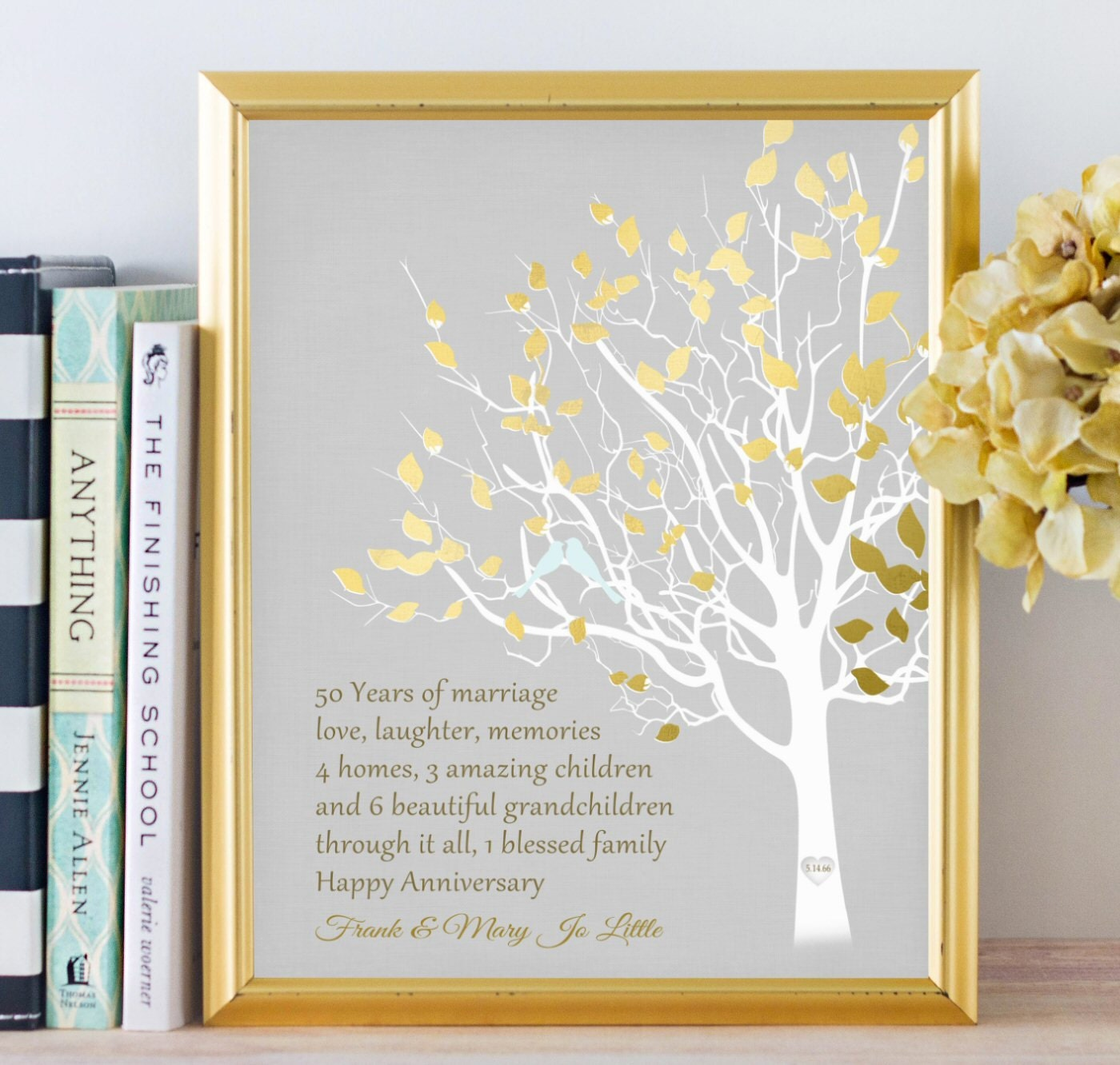 Golden Anniversary Family Tree Canvas Print Personalized 50th