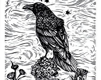 LIBRA, Linocut Print, Zodiac Sign, Astrology Prints, Art Print, Wall Art Print, Raven Print