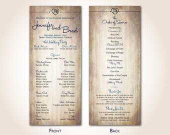 Wedding Program - Rustic - Woodgrain - Country Wedding - Finished Printed Programs