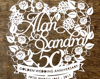 Personalised Wedding Anniversary / Day Papercutting Template Design to Cut Your Own Papercut from Samantha's Papercuts