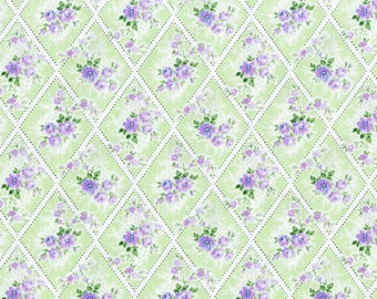 RJR Fabrics - Afternoon in the Attic - Miniature Bouquet Lavender by RJR Studio