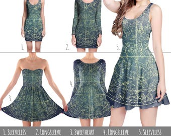 Stars Constellations Map - Dress in XS-3XL - Flared, Bodycon, or Skater Style 000536