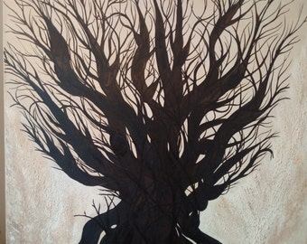 "Original Oil Painting Artwork My Oak, My Childhood by Des Rosiers 30 x 30"""