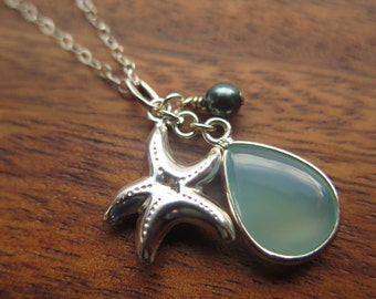Blue Chalcedony and Sterling Silver Starfish Necklace
