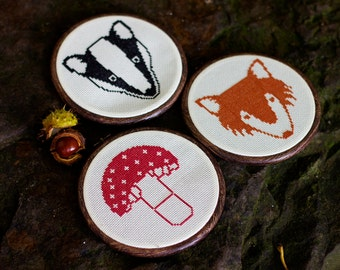 Woodland Creatures Instant Download Cross Stitch Chart