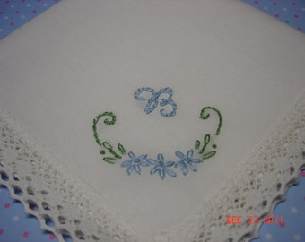 Wedding handkerchief, something blue, hand embroidered, monogram, daisies, initial, bouquet wrap
