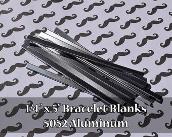 "10 - 5052 Aluminum 1/4"" x 5"" Bracelet Cuff Blanks - Polished Metal Stamping Blanks - 14G 5052 Aluminum - Flat"