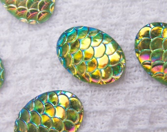 13x 18 Mermaid, Mermaid Scale Cabochon, Dragon Scale, Fish Scale Cabochon, 10 Pieces, Green Mermaid Scale, Green Dragon Scale, Oval Cabochon