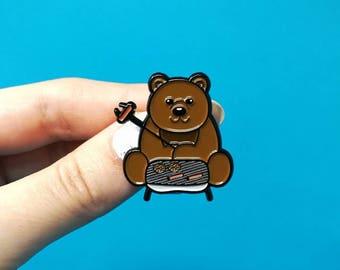 Bear grills enamel pin, pins, bear pin, funny pin, bear grylls, scouts, fun pin, cute pin, bear brooch, outdoor pin, pins and patches