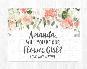 Flower Girl Proposal Puzzle Flower Girl Puzzle Will You Be My Flower Girl Puzzle Proposal Will You Be Our Flower Girl Puzzle Peach Brown