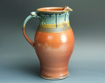 Sale-Handcrafted pottery pitcher, stoneware vase 1.5 qt. 3429