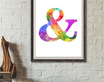 Ampersand Print, Typography Print, Ampersand Watercolor, Letter Print, Minimalist Art, Typography Poster, Modern Art, Colorful (No A0219)