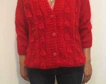 Vintage red wool cable-knit cardigan