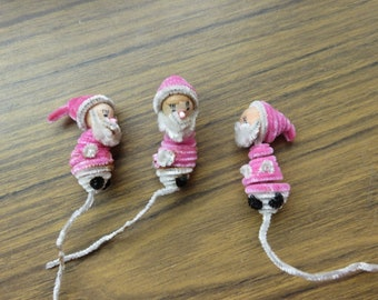 Vintage Lot of 3 Chenille Pipe Cleaner Pink Santa Elf Christmas Tie ons