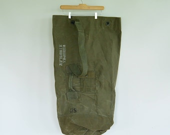 "Type 1 US Issued Military Large Duffel Bag Top Load Heavy Green Canvas Soldier's Names Written on outside 36"" x 22"""