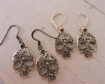 Skull Earrings, Skull Jewelry, Biker Jewelry, Skull Lovers, Hypoallergenic Earrings, Leaver Back or Fish Hook Wires, Silver Tone Skulls