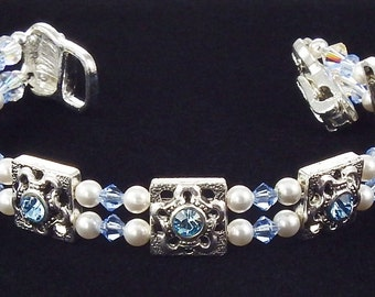 Light Sapphire Crystal Bracelet with Swarovski Crystals and Magnetic Clasp