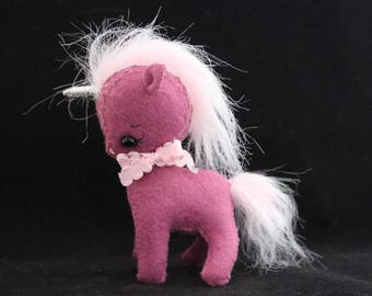 Unicorn felt doll Gingermelon pony