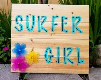 SURFER GIRL WALL Art S5 Hawaiian surf beach Decor hibiscus Teen