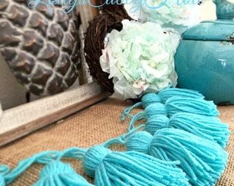 Turquoise Yarn Tassels, Tassel Garland Teal Tassel Garland, Home Decor, Tassel Wall Hanging 6 Ft.