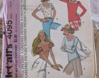 vintage McCALLS 4095 -- Misses set of tops, for unbonded stretchable knits-- size LARGE (18-20)