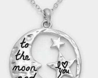To the moon and back , inspired necklace