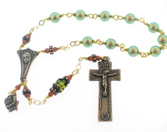 Swarovski Iridescent Green Pearl and Brown Crystal Irish Penal One Decade Pocket Prayer Bead Rosary by Heavenly Divine Rosaries