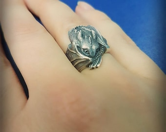 How to train your dragon Toothless jewelry Dragon jewelry Toothless ring Toothless gift  Dragon ring Dragon present Night fury Silver