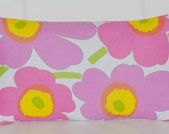 "12""x20"" Marimekko Pillow Cover. Handmade. Pattern: Unikko by Maija Isola. (30x50cm)"