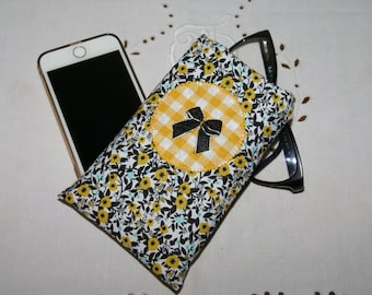 Protects phone or case sunglasses black, green yellow and applied flowers yellow gingham