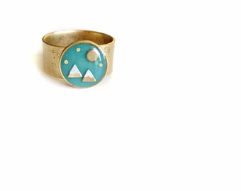 Turquoise /gold mountain + moon ring• cocktail ring, statement ring, gifts for her