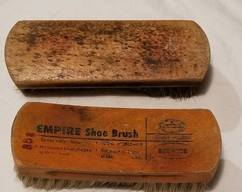 "2 vintage horsehair shoe boot brushes, wood handle 7"""