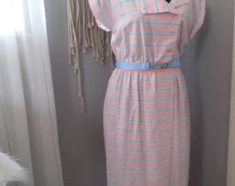 Vintage 1970s Candy Stripe Dress ~ Double Breasted Sailor Dress ~ Size 8 ~ Pink Blue White Stripe