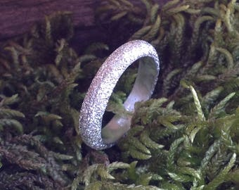 Sterling Silver Diamond Pave' Tooled Narrow 4.18 mm Band Ring