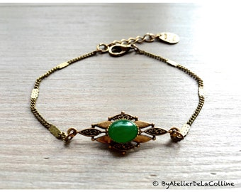 Art deco bracelet with green agate cabochon, Isolde collection