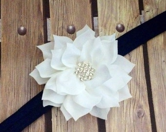 White and navy headband, white headband, navy headband, flower girl headband, floral headband, elastic headband, halo,