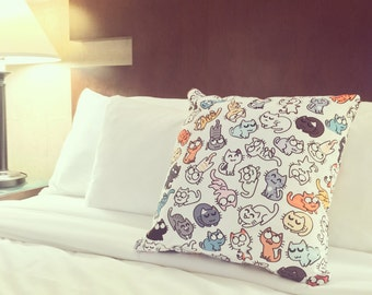 Decorative pillow with Catsu Kitty Pattern