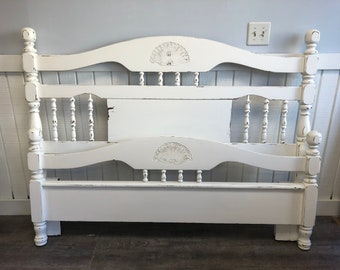 Shabby Chic Bed Frame White Distressed Full or Queen Farmhouse Rustic
