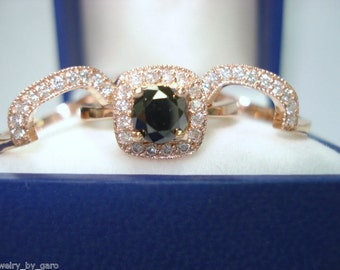 Black Diamond Engagement Ring Set Rose Gold, Black Diamonds Trio Wedding Sets, Bridal Set,Handmade 1.57 Carat Halo Pave Certified Unique