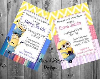 Disney princess baby shower invitations thank you cards prints despicable me minion boy and girl baby shower invitations prints 5x7 birthday kevin bob stuart dave filmwisefo