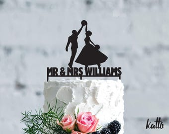 Basketball wedding cake topper- Customizable Wedding Cake Topper- Personalized basketball cake topper- basketball Wedding Cake topper